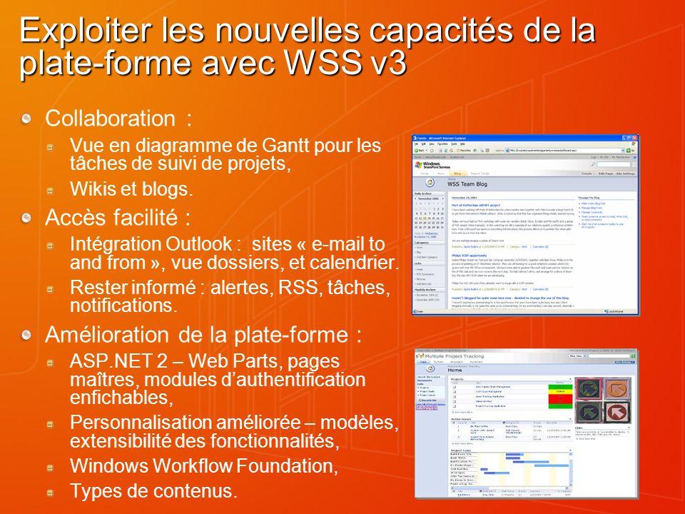 Exploiter les nouvelles capacités de la plate-forme avec WSS v3 Collaboration : Vue en diagramme de Gantt pour les tâches de suivi de projets, Wikis e
