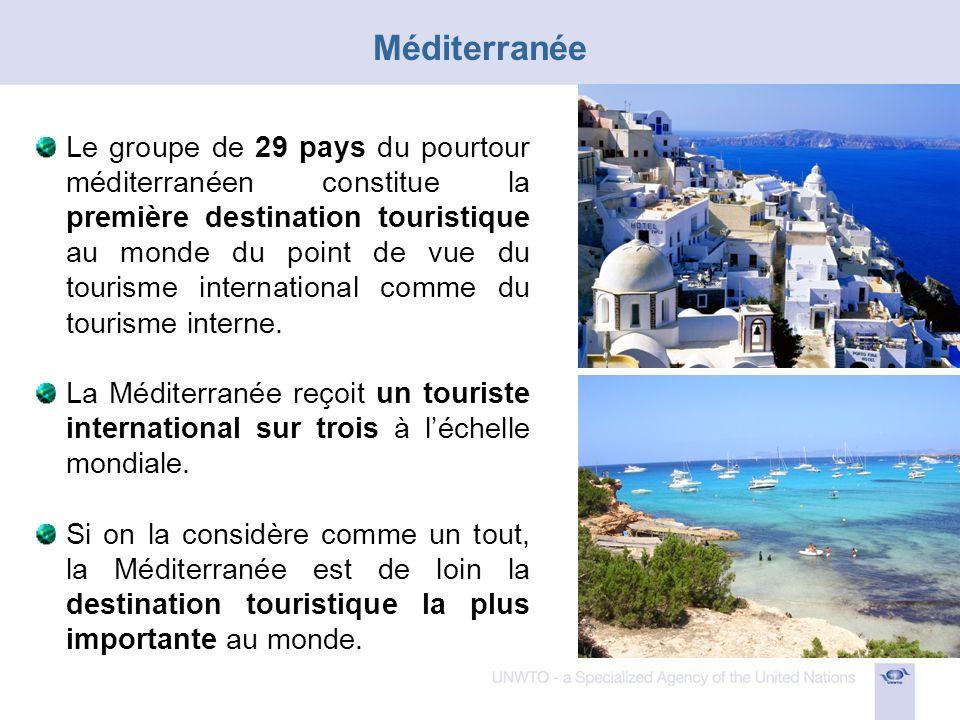 Le groupe de 29 pays du pourtour méditerranéen constitue la première destination touristique au monde du point de vue du tourisme international comme du tourisme interne.