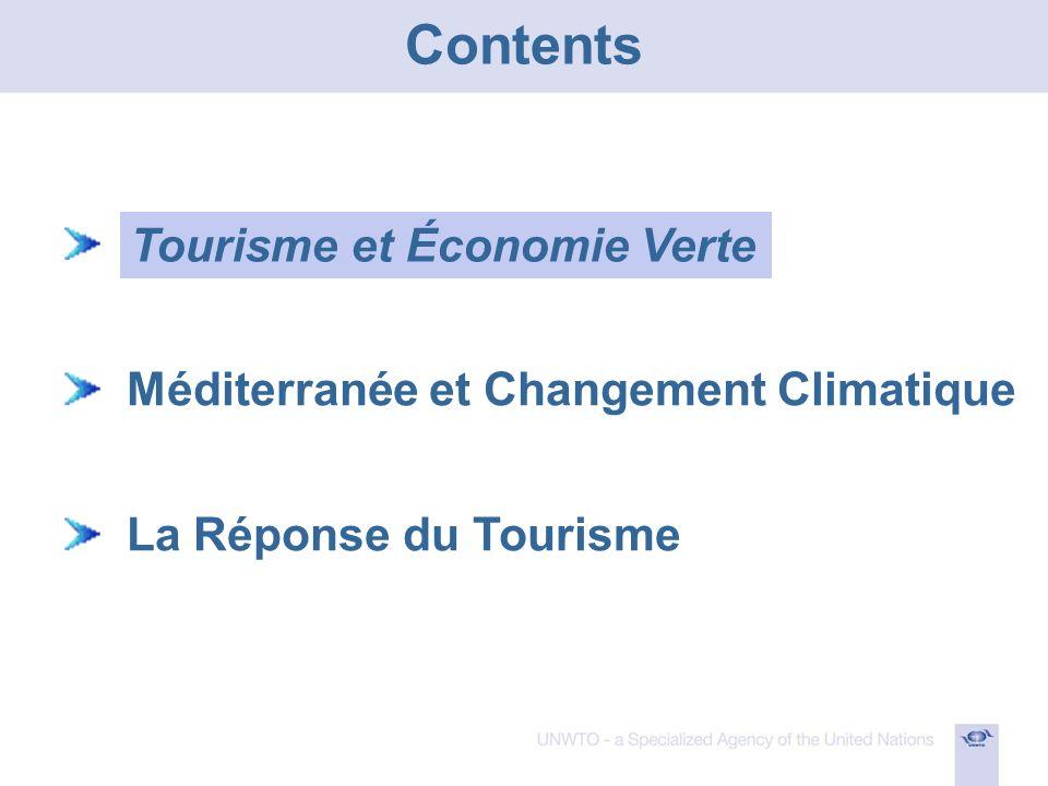 n Méditerranée et Changement Climatique La Réponse du Tourisme Tourisme et Économie Verte Contents
