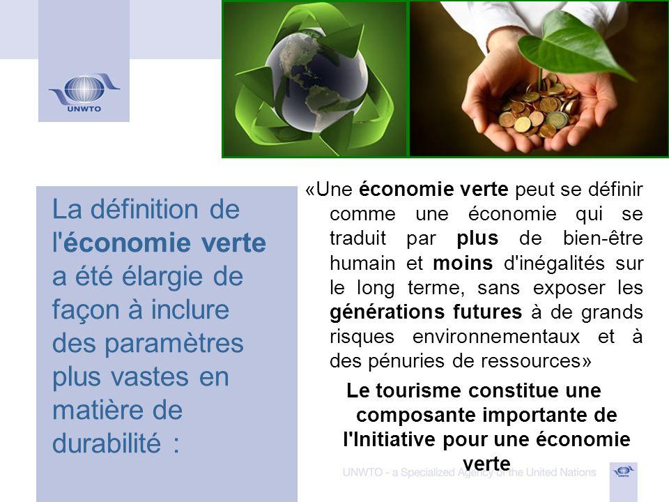 Rapport sur l économie verte : chapitre consacré au tourisme Le chapitre consacré au tourisme du Rapport sur l économie verte, préparé conjointement par le PNUE et l OMT, présente des arguments en faveur d un tourisme plus vert et durable permettant de créer des emplois et de réduire la pauvreté tout en améliorant les effets environnementaux.