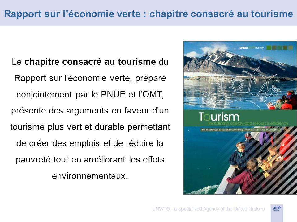 Pour quantifier les effets probables d investissements accrus dans le tourisme, le scénario d investissements verts simulé dans le cadre de l exercice de modélisation prévoit d allouer au secteur touristique 0,2% du PIB mondial entre 2011 et 2050.