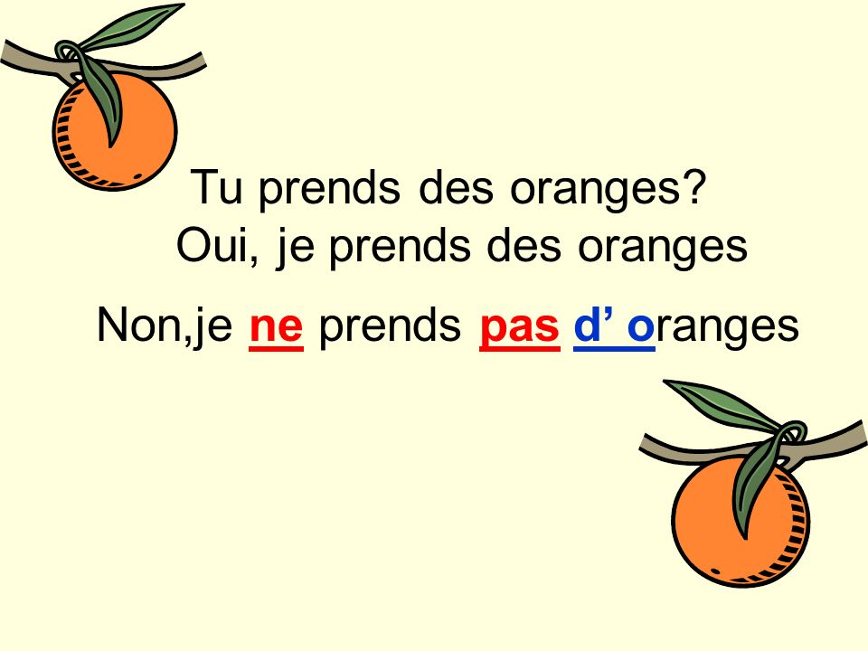Tu prends des oranges Oui, je prendsdes oranges Non,je ne prends pasd oranges