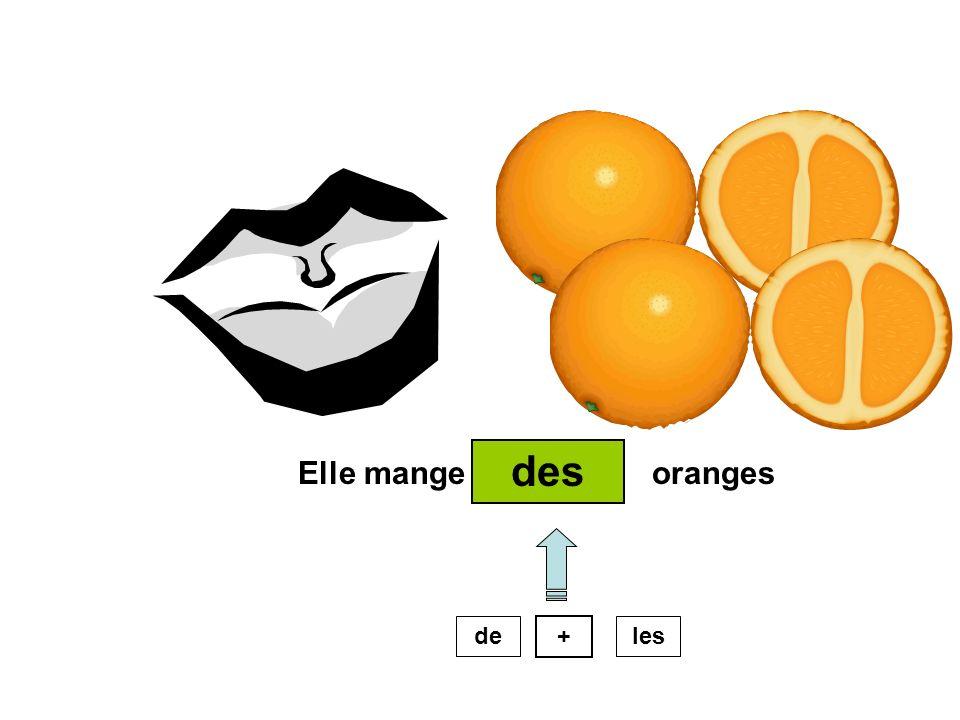 Elle mange oranges des de + les