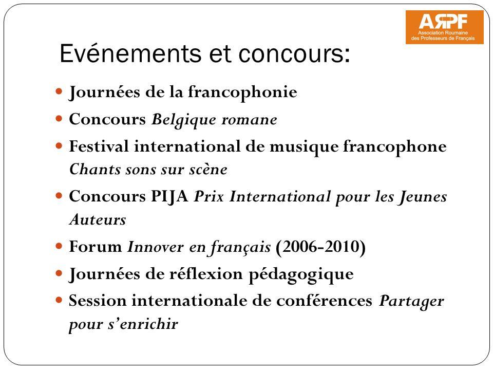 Evénements et concours: Journées de la francophonie Concours Belgique romane Festival international de musique francophone Chants sons sur scène Conco