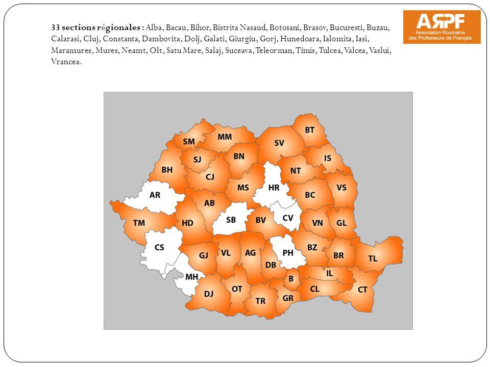 33 sections régionales : Alba, Bacau, Bihor, Bistrita Nasaud, Botosani, Brasov, Bucuresti, Buzau, Calarasi, Cluj, Constanta, Dambovita, Dolj, Galati,