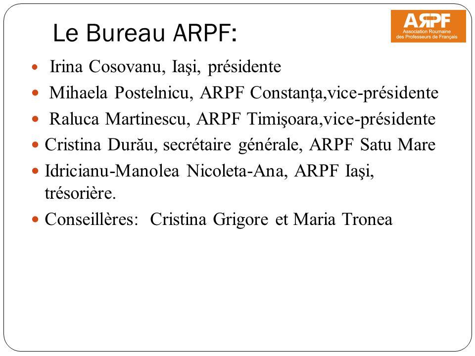 Le Bureau ARPF: Irina Cosovanu, Iaşi, présidente Mihaela Postelnicu, ARPF Constanţa,vice-présidente Raluca Martinescu, ARPF Timişoara,vice-présidente