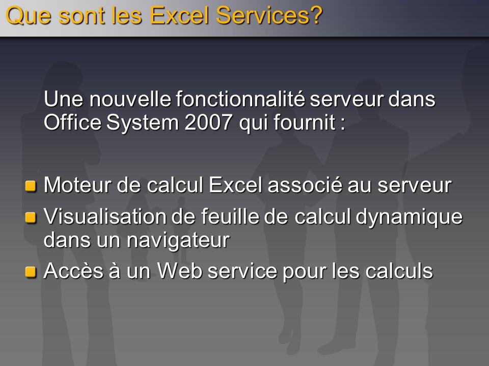 Que sont les Excel Services? Une nouvelle fonctionnalité serveur dans Office System 2007 qui fournit : Moteur de calcul Excel associé au serveur Visua