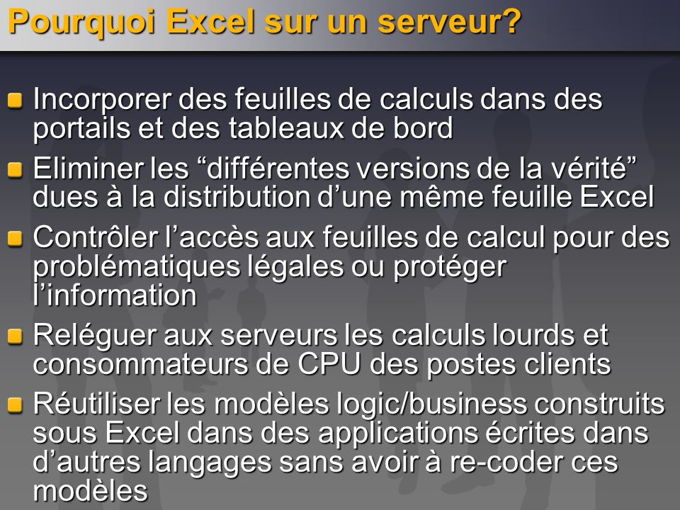 Pourquoi Excel sur un serveur? Incorporer des feuilles de calculs dans des portails et des tableaux de bord Eliminer les différentes versions de la vé