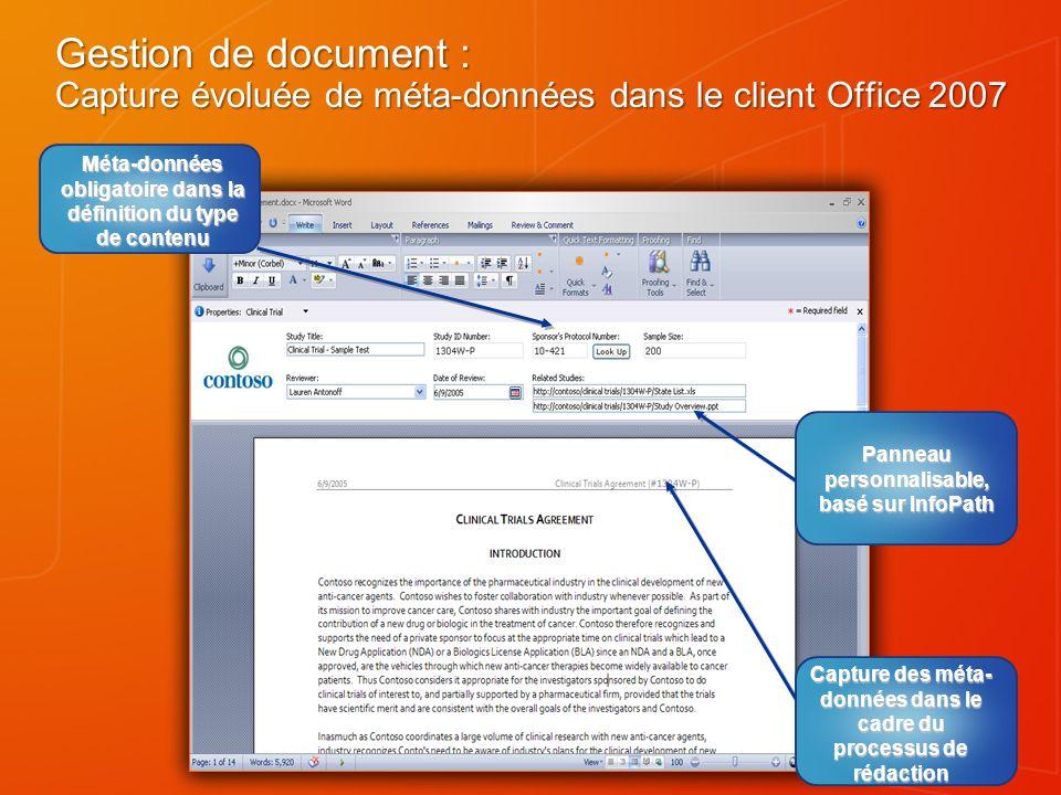 Gestion de document : Capture évoluée de méta-données dans le client Office 2007 Panneau personnalisable, basé sur InfoPath Capture des méta- données