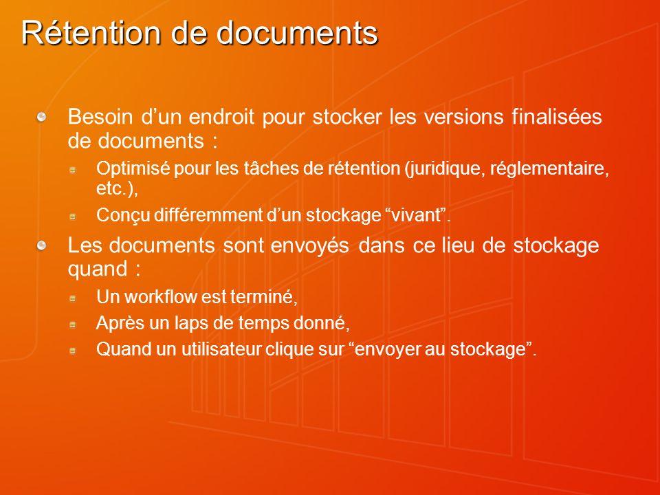 Rétention de documents Besoin dun endroit pour stocker les versions finalisées de documents : Optimisé pour les tâches de rétention (juridique, réglem