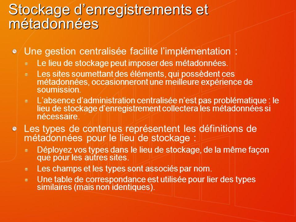 Stockage denregistrements et métadonnées Une gestion centralisée facilite limplémentation : Le lieu de stockage peut imposer des métadonnées. Les site