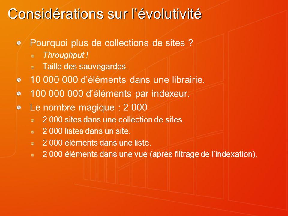 Considérations sur lévolutivité Pourquoi plus de collections de sites ? Throughput ! Taille des sauvegardes. 10 000 000 déléments dans une librairie.