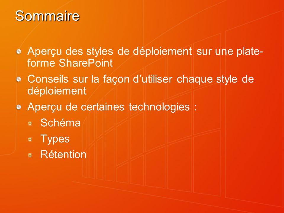 Sommaire Aperçu des styles de déploiement sur une plate- forme SharePoint Conseils sur la façon dutiliser chaque style de déploiement Aperçu de certai