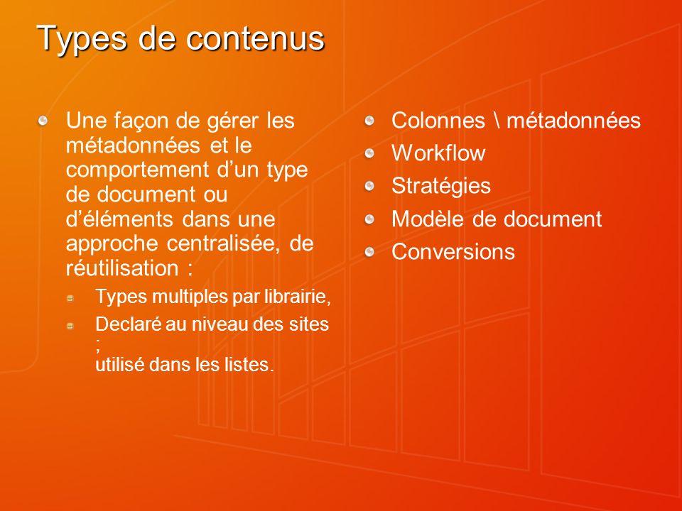 Types de contenus Une façon de gérer les métadonnées et le comportement dun type de document ou déléments dans une approche centralisée, de réutilisat