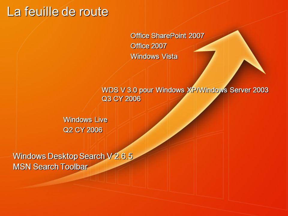 La feuille de route Windows Desktop Search V 2.6.5 MSN Search Toolbar Office SharePoint 2007 Office 2007 Windows Vista Windows Live Q2 CY 2006 WDS V 3.0 pour Windows XP/Windows Server 2003 Q3 CY 2006
