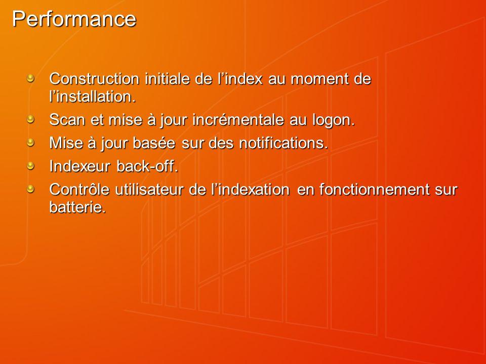 Performance Construction initiale de lindex au moment de linstallation. Scan et mise à jour incrémentale au logon. Mise à jour basée sur des notificat