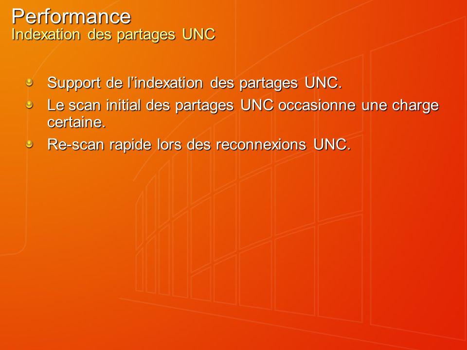 Performance Indexation des partages UNC Support de lindexation des partages UNC. Le scan initial des partages UNC occasionne une charge certaine. Re-s