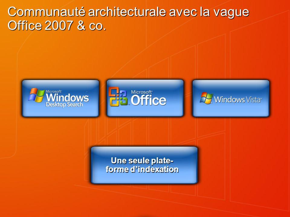 Communauté architecturale avec la vague Office 2007 & co. Une seule plate- forme dindexation