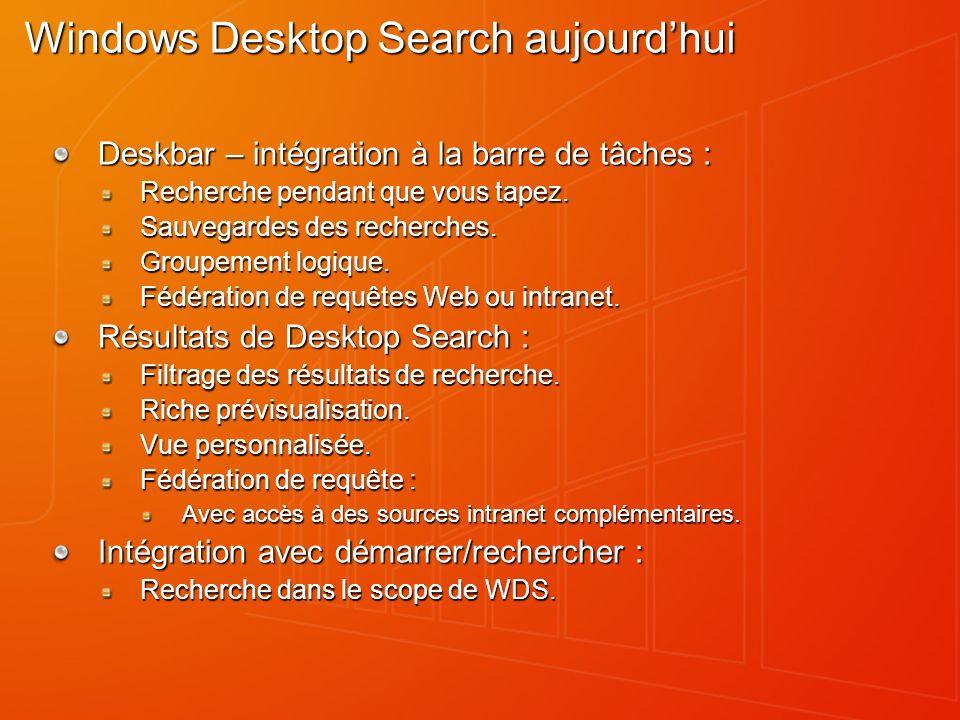 Windows Deskbar Accès permanent au Search – visualisation immédiate des résultats Change lexpérience de la recherche Lancement des tâches fréquentes Résultats groupés par catégories Recherche pendant la saisie