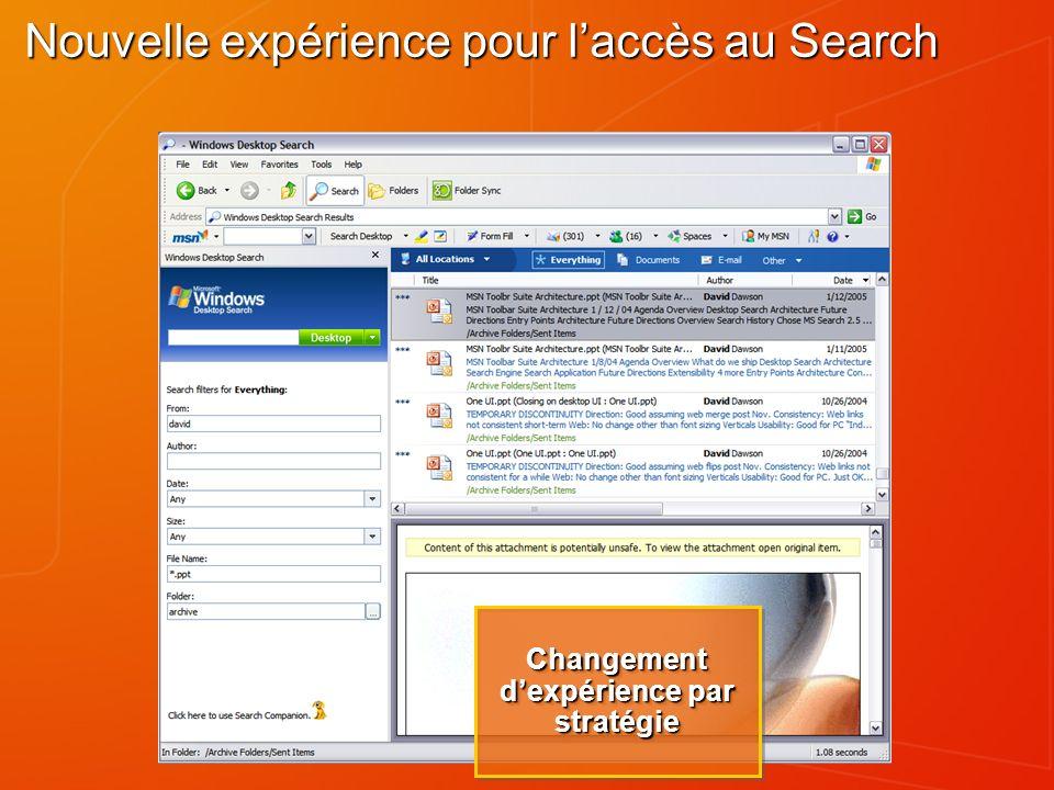 Nouvelle expérience pour laccès au Search Changement dexpérience par stratégie
