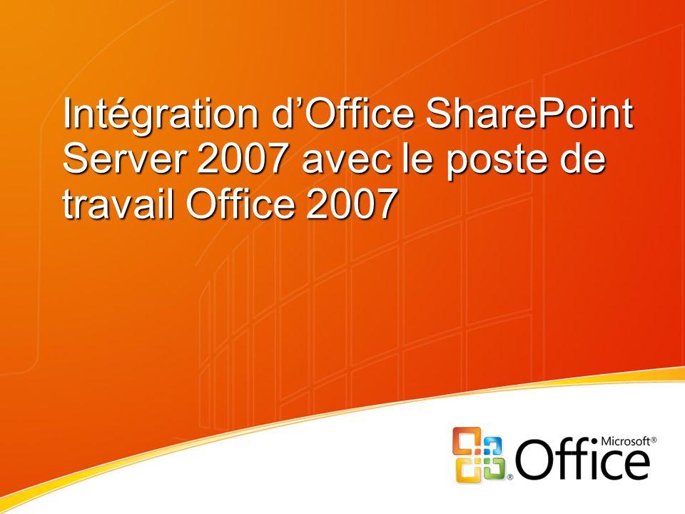 Sommaire Introduction à Microsoft Office system 2007 : Importance des espaces de travail dans les scénarios de synergie poste de travail.