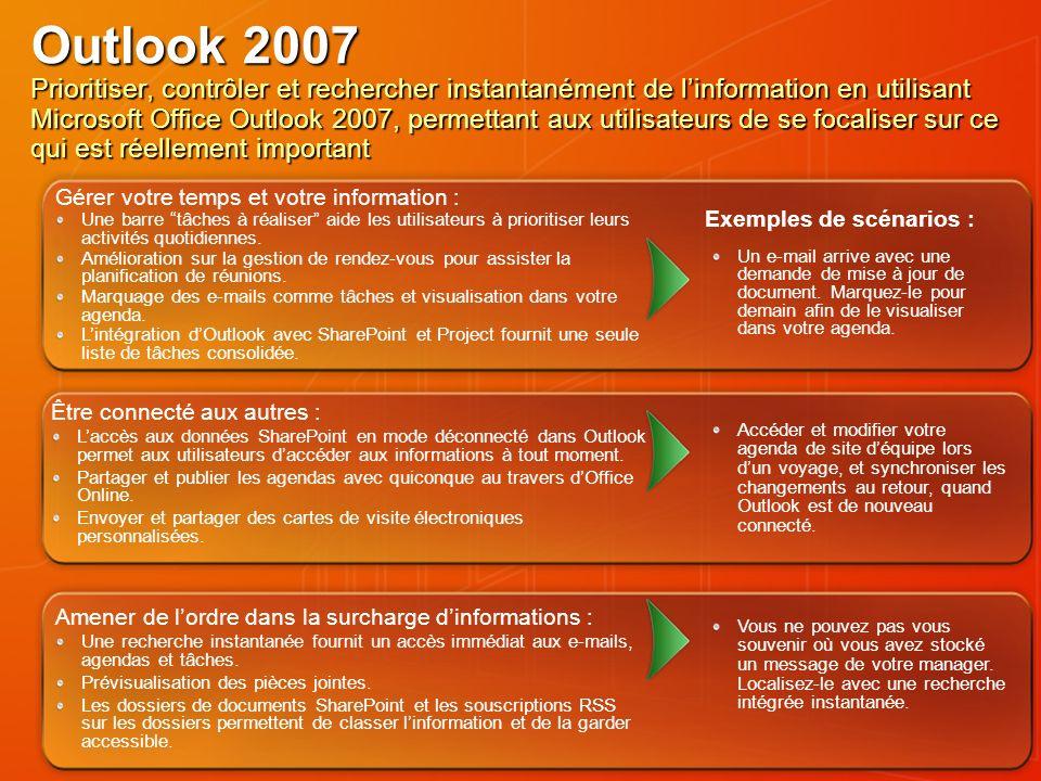 Outlook 2007 Prioritiser, contrôler et rechercher instantanément de linformation en utilisant Microsoft Office Outlook 2007, permettant aux utilisateu