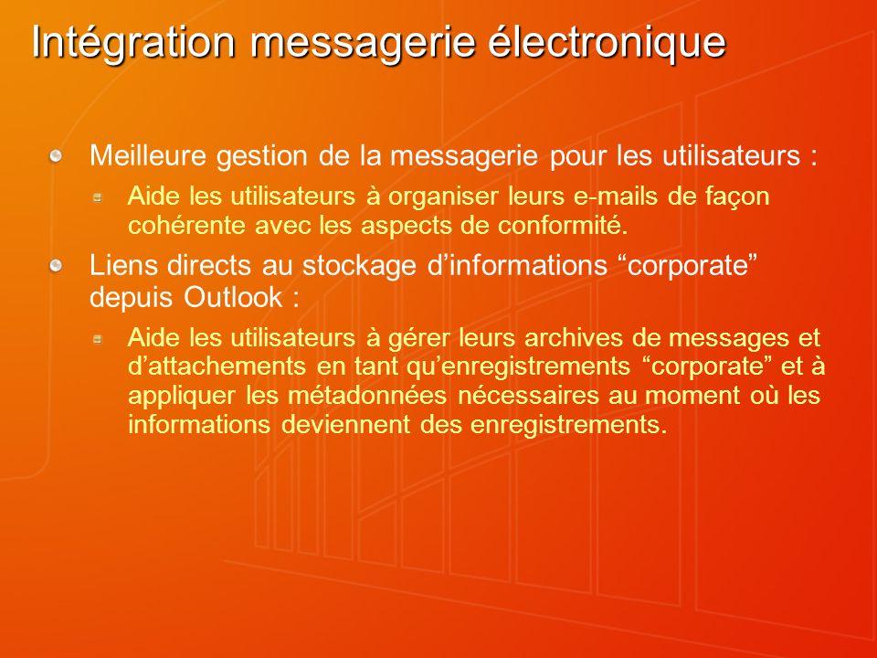 Intégration messagerie électronique Meilleure gestion de la messagerie pour les utilisateurs : Aide les utilisateurs à organiser leurs e-mails de faço