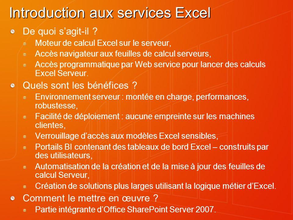 Introduction aux services Excel De quoi sagit-il ? Moteur de calcul Excel sur le serveur, Accès navigateur aux feuilles de calcul serveurs, Accès prog