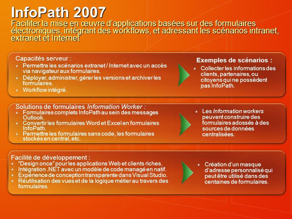 InfoPath 2007 Faciliter la mise en œuvre dapplications basées sur des formulaires électroniques, intégrant des workflows, et adressant les scénarios i