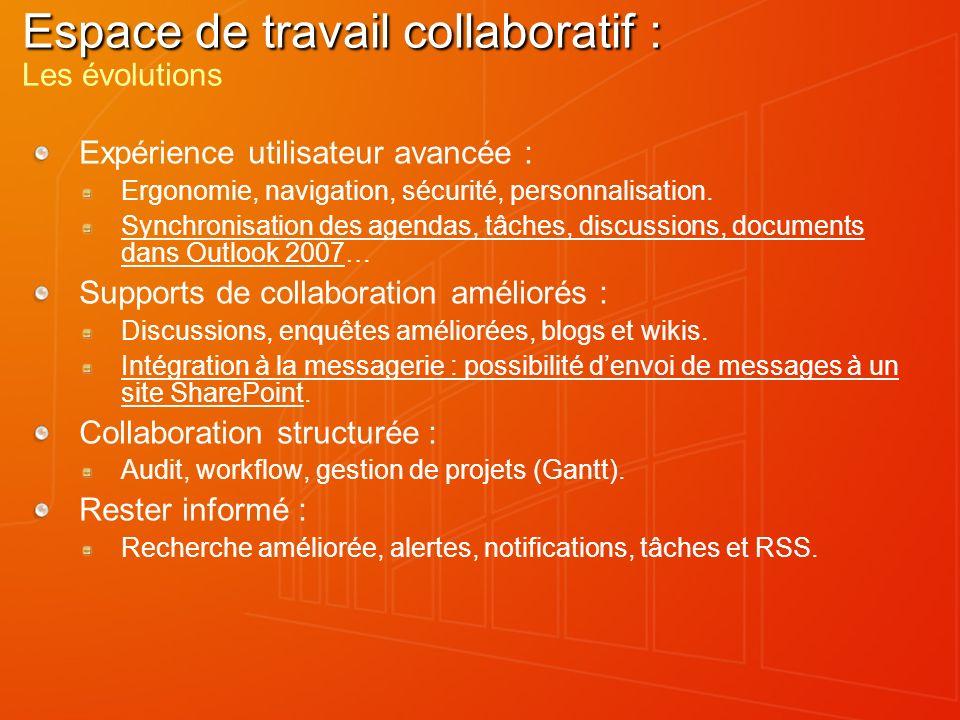 Groove 2007 Collaboration mobile, cross-organisations Création collaborative dun document au sein de Groove avec des capacités de publication (dans des sites SharePoint) et capacités de partage.