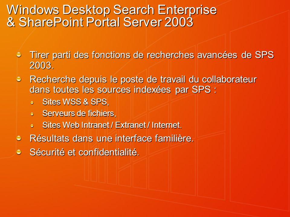 Windows Desktop Search Enterprise & SharePoint Portal Server 2003 Tirer parti des fonctions de recherches avancées de SPS 2003.