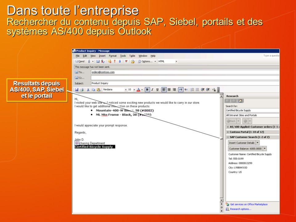 Dans toute lentreprise Rechercher du contenu depuis SAP, Siebel, portails et des systèmes AS/400 depuis Outlook Resultats depuis AS/400, SAP, Siebel et le portail