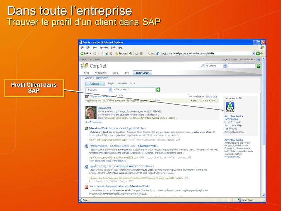 Dans toute lentreprise Trouver le profil dun client dans SAP Profil Client dans SAP