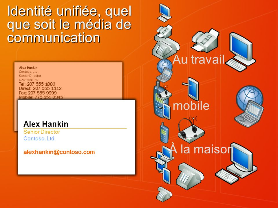 Au travail mobile Alex Hankin Contoso, Ltd.