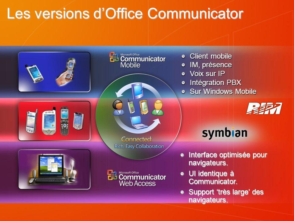 Client mobile IM, présence Voix sur IP Intégration PBX Sur Windows Mobile Les versions dOffice Communicator Interface optimisée pour navigateurs. UI i