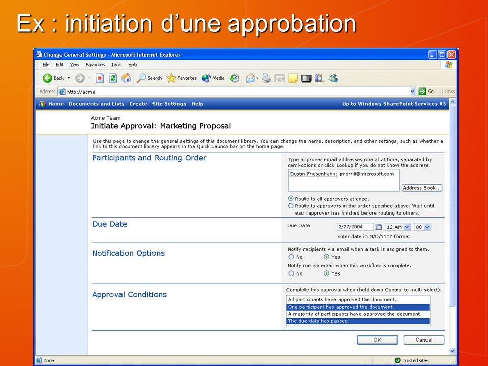 Ex : initiation dune approbation