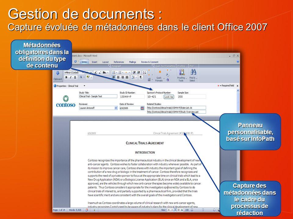 Gestion de documents : Capture évoluée de métadonnées dans le client Office 2007 Panneau personnalisable, basé sur InfoPath Capture des métadonnées da