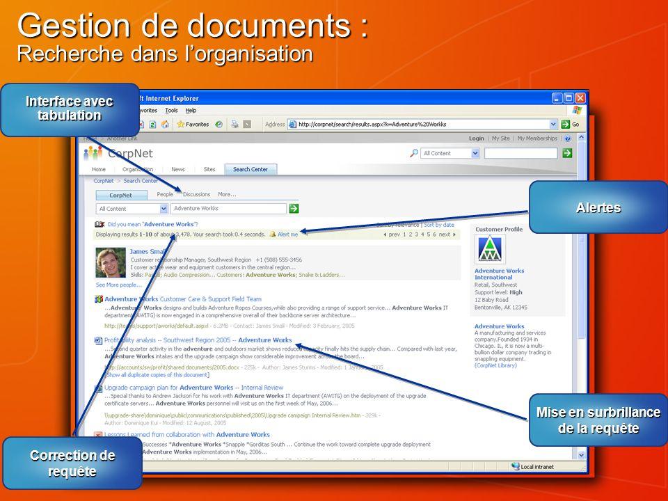 Gestion de documents : Recherche dans lorganisation Interface avec tabulation Correction de requête Alertes Mise en surbrillance de la requête
