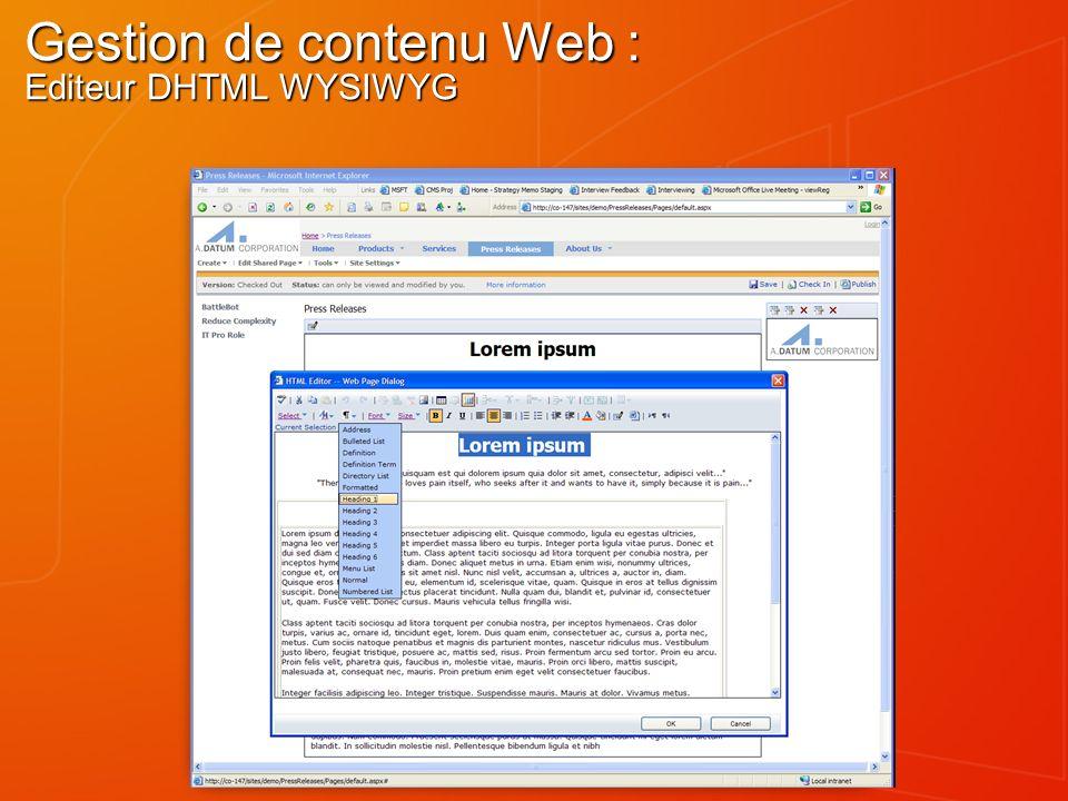 Gestion de contenu Web : Editeur DHTML WYSIWYG