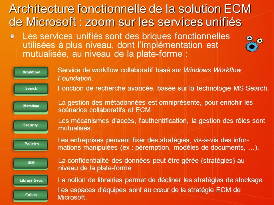 Architecture fonctionnelle de la solution ECM de Microsoft : zoom sur les services unifiés Les services unifiés sont des briques fonctionnelles utilis