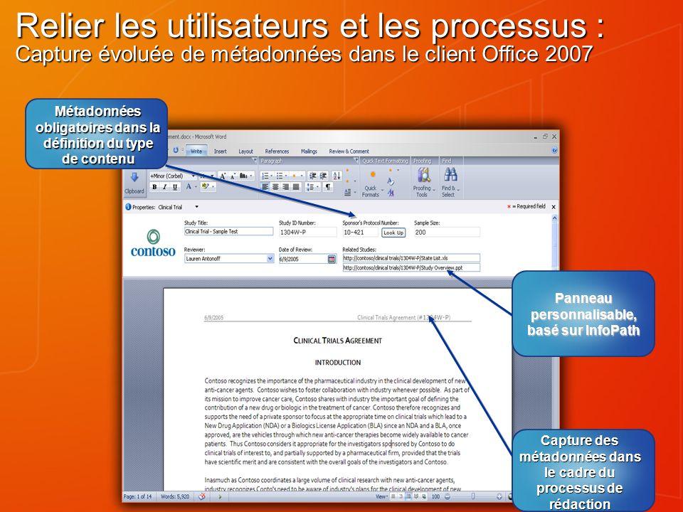 Relier les utilisateurs et les processus : Capture évoluée de métadonnées dans le client Office 2007 Panneau personnalisable, basé sur InfoPath Captur