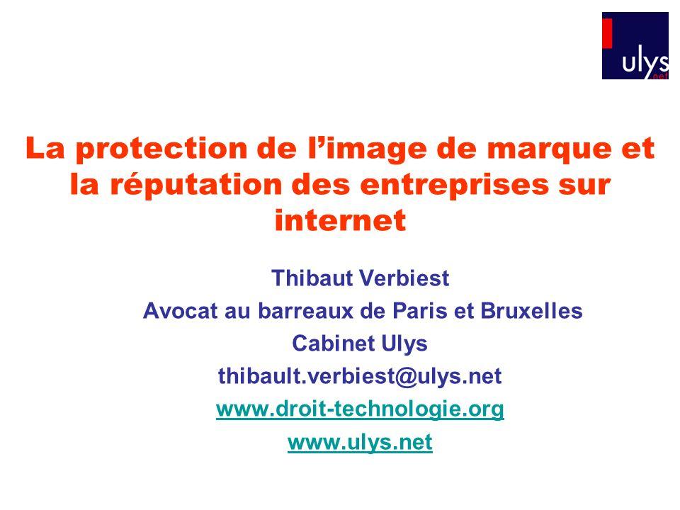 La protection de limage de marque et la réputation des entreprises sur internet Thibaut Verbiest Avocat au barreaux de Paris et Bruxelles Cabinet Ulys