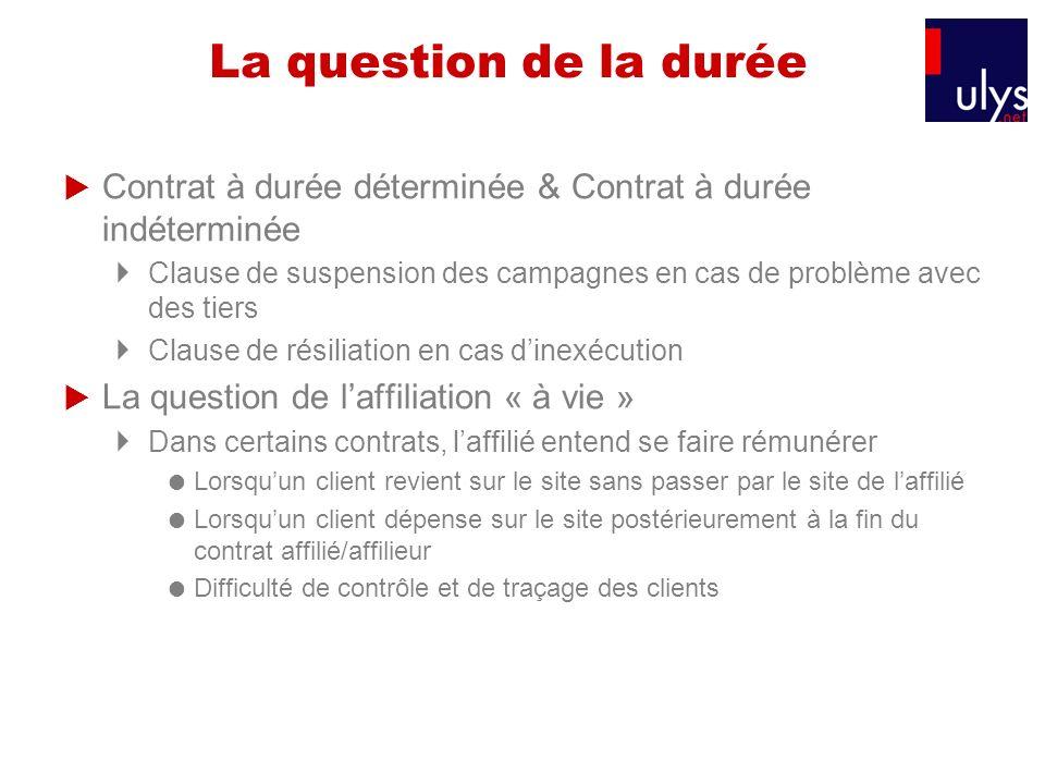 La question de la durée Contrat à durée déterminée & Contrat à durée indéterminée Clause de suspension des campagnes en cas de problème avec des tiers