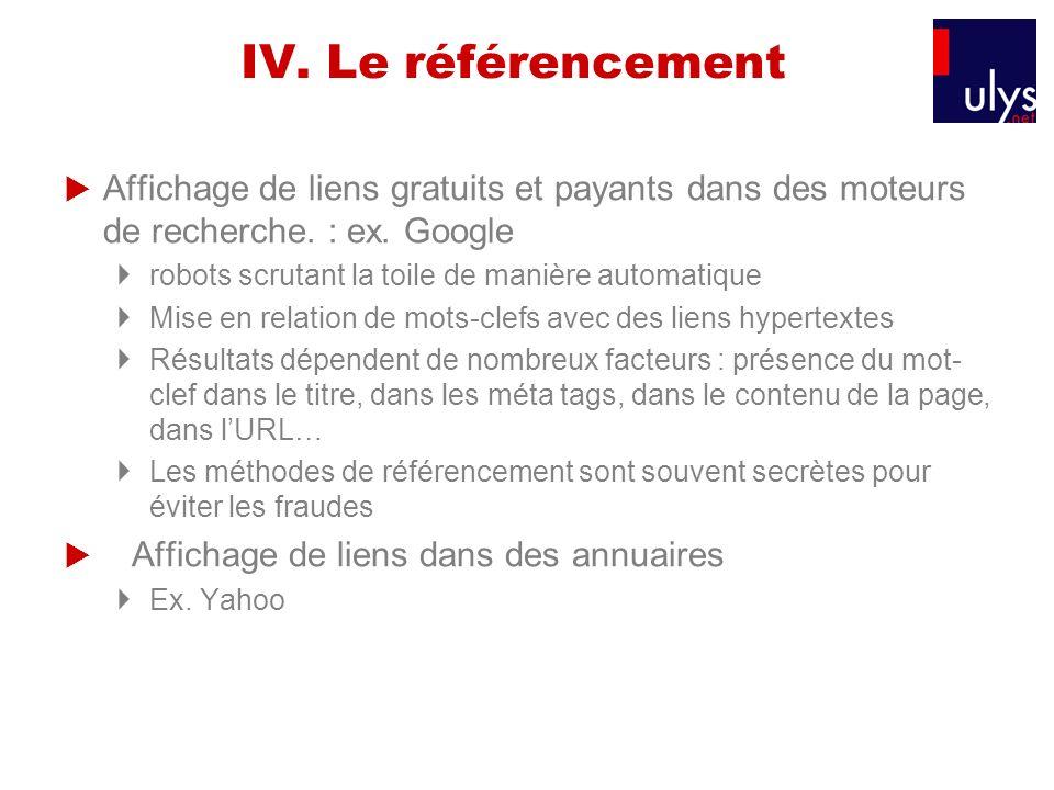 IV. Le référencement Affichage de liens gratuits et payants dans des moteurs de recherche. : ex. Google robots scrutant la toile de manière automatiqu