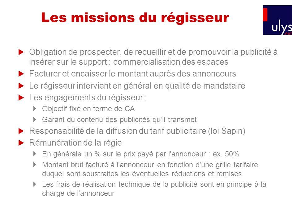 Les missions du régisseur Obligation de prospecter, de recueillir et de promouvoir la publicité à insérer sur le support : commercialisation des espac