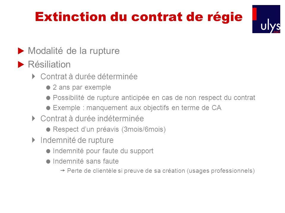 Extinction du contrat de régie Modalité de la rupture Résiliation Contrat à durée déterminée 2 ans par exemple Possibilité de rupture anticipée en cas