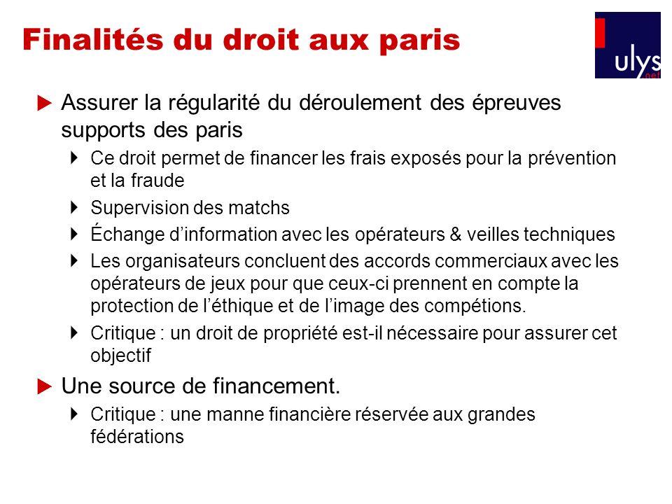Finalités du droit aux paris Assurer la régularité du déroulement des épreuves supports des paris Ce droit permet de financer les frais exposés pour l