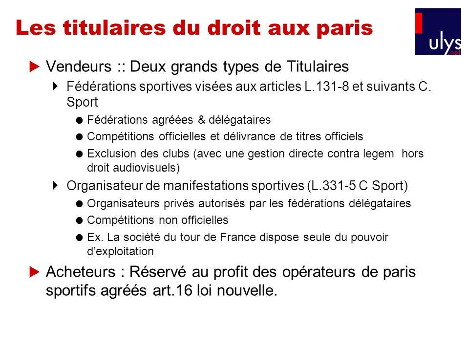 Les titulaires du droit aux paris Vendeurs :: Deux grands types de Titulaires Fédérations sportives visées aux articles L.131-8 et suivants C. Sport F