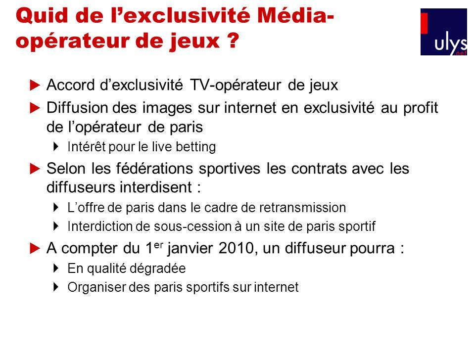 Quid de lexclusivité Média- opérateur de jeux ? Accord dexclusivité TV-opérateur de jeux Diffusion des images sur internet en exclusivité au profit de