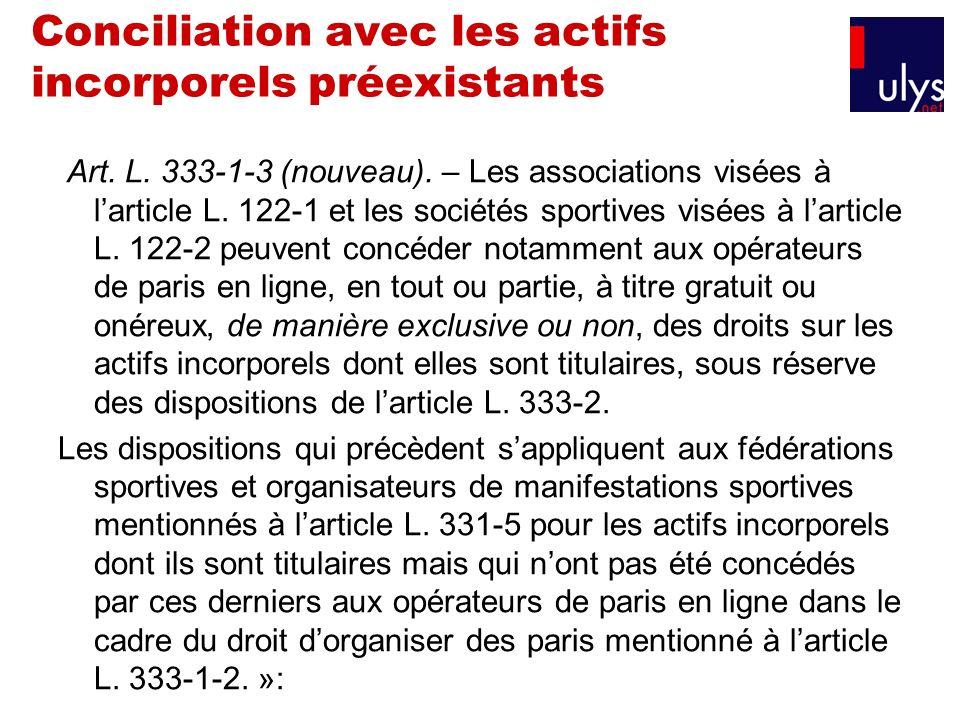 Conciliation avec les actifs incorporels préexistants Art. L. 333-1-3 (nouveau). – Les associations visées à larticle L. 122-1 et les sociétés sportiv